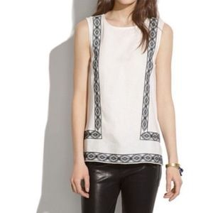 Madewell Linen Front Embroidered Tank Top